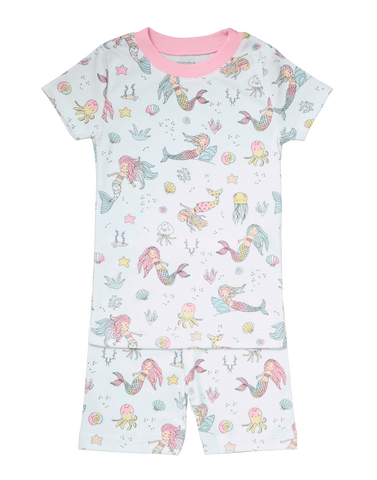 Baby Noomie Short Sleeve & Shorts PJ Set - Mermaids