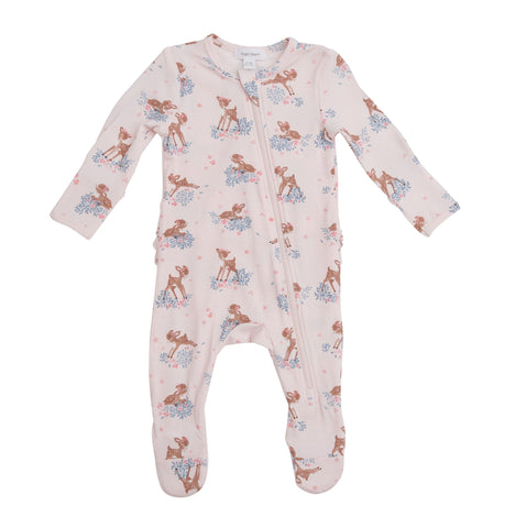 Angel Dear Ruffle Zipper Footie - Woodland Deer