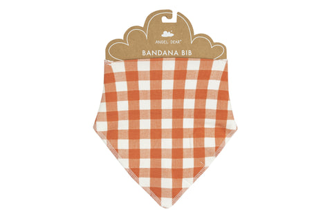 Angel Dear Bamboo Bandana Bib -Gingham Pumpkin