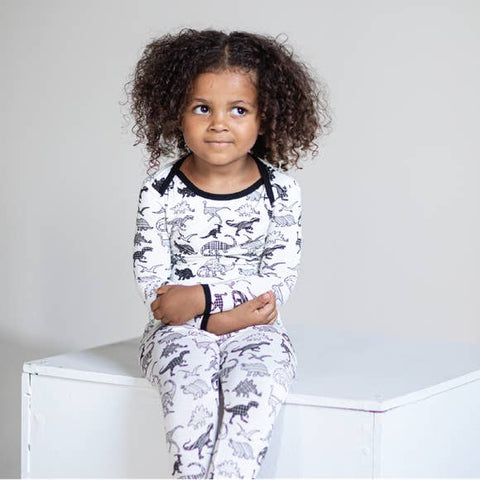 Peregrine 2 Piece Pajama Set -  White Dino - Let Them Be Little, A Baby & Children's Boutique