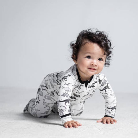 Peregrine Signature Footed Sleeper - White Dino - Let Them Be Little, A Baby & Children's Boutique