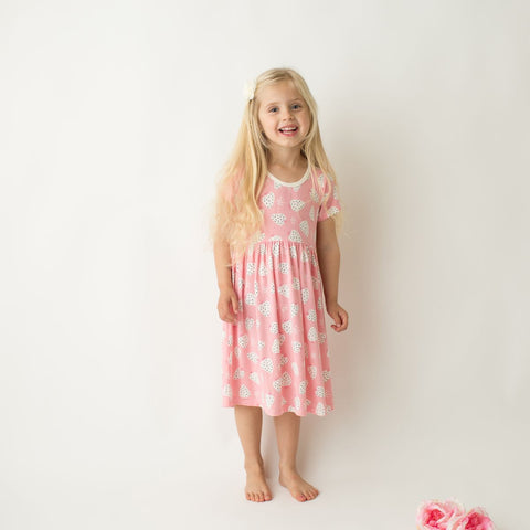 Bestaroo Short Sleeve Dress - Strawberry - Let Them Be Little, A Baby & Children's Boutique