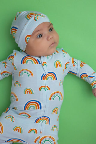 Angel Dear Zipper Footie - Rainbows Blue