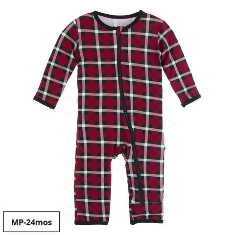 Kickee Pants Printed Zipper Coverall - Crimson 2020 Holiday Plaid