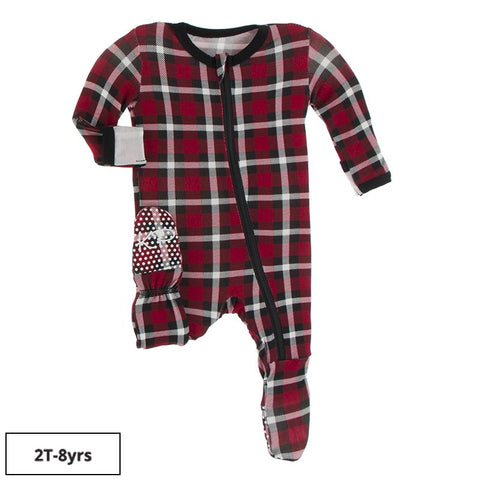 Kickee Pants Printed Zipper Footie -  Crimson 2020 Holiday Plaid - Let Them Be Little, A Baby & Children's Boutique