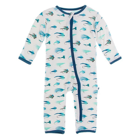 Kickee Pants Print Coverall with Zipper - Natural Fishing Flies