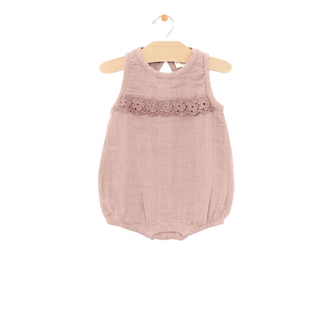 City Mouse Muslin Lace Bubble Romper - Dusty Mauve - Let Them Be Little, A Baby & Children's Boutique