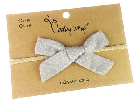 Baby Wisp Hand Tied Starlite Bow - Grey - Let Them Be Little, A Baby & Children's Boutique