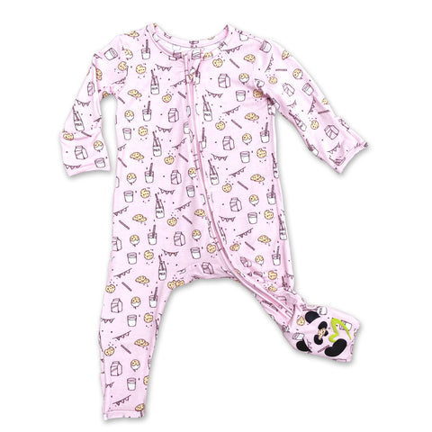 Bellabu Bear Convertible Footie - Milk & Cookies Pink