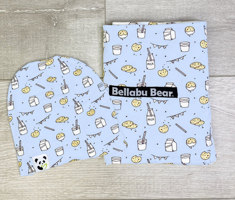 Bellabu Bear Swaddle & Beanie Set - Milk & Cookies Blue