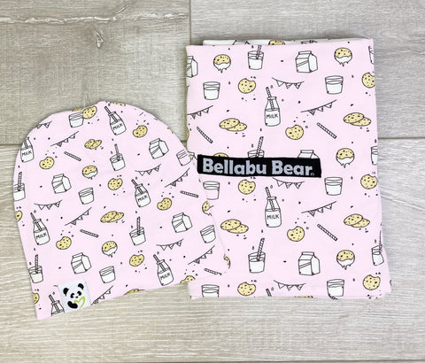Bellabu Bear Swaddle & Beanie Set - Milk & Cookies Pink