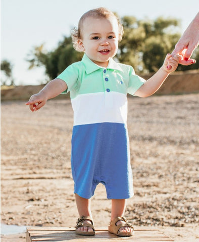 RuggedButts Color block Polo Romper - Blue & Neo Mint