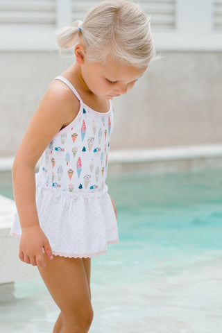 Charming Mary Skirted One Piece Swimsuit - Ice Cream