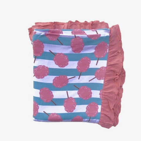 Kozi & Co Double Layer Blanket w/ Ruffles - Cotton Candy Stripe - Let Them Be Little, A Baby & Children's Boutique