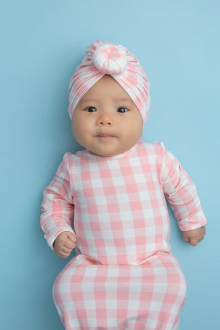 Angel Dear Knotted Gown - Gingham Pink