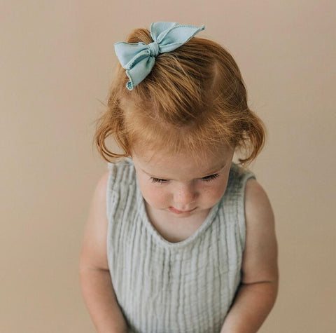 Poppy Knots Edged Bow on Clip - Blush - Let Them Be Little, A Baby & Children's Boutique
