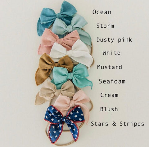 Poppy Knots Edged Bow on Nylon Headband - Ocean - Let Them Be Little, A Baby & Children's Boutique