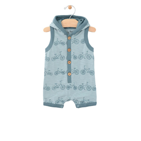 City Mouse Hooded Racerback Romper - Bikes - Let Them Be Little, A Baby & Children's Boutique