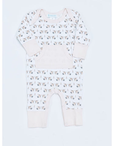 Feather Baby Kangaroo Romper - Doves on White