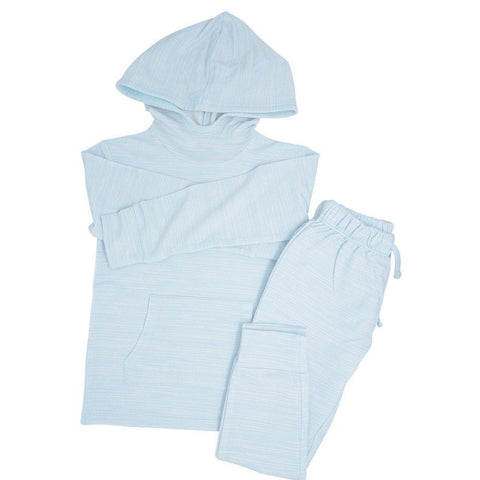 Sweet Bamboo Terry Jogger/Hoodie Set - Blue Chalk Lines