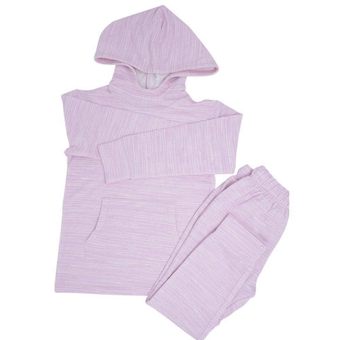 Sweet Bamboo Terry Jogger/Hoodie Set - Purple Chalk Lines