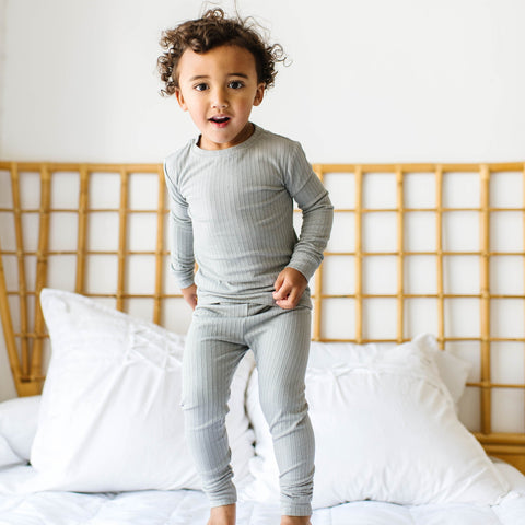 Brave Little Ones Ribbed 2 Piece PJ Set - Gray