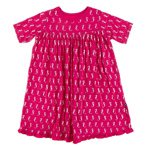 Kickee Pants Print Classic Short Sleeve Swing Dress - Prickly Pear Mini Seahorses - Let Them Be Little, A Baby & Children's Boutique