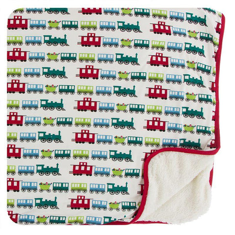 Kickee Pants Print Sherpa-Lined Toddler Blanket - Natural Toy Train