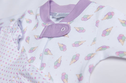 Magnolia Baby Printed Zipped Footie - Tiny Ice Cream