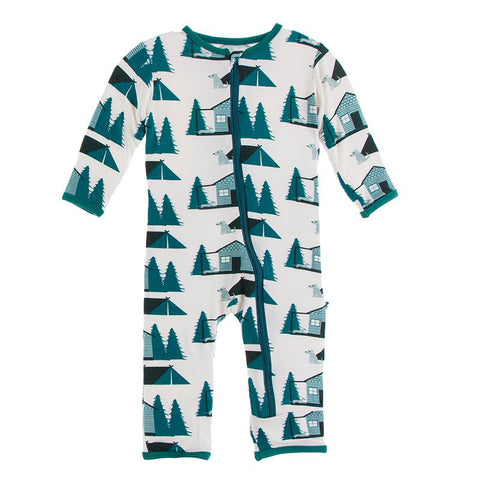 Kickee Pants Print Coverall with Zipper - Natural Cabins and Tents