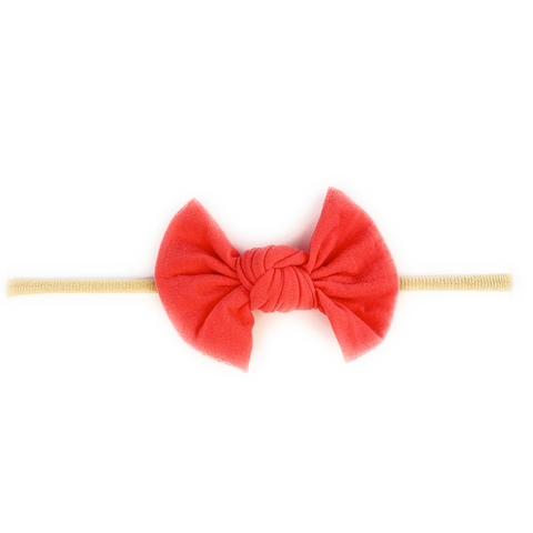 Baby Wisp Knotted Bow on Skinny Nylon Headband  - Coral