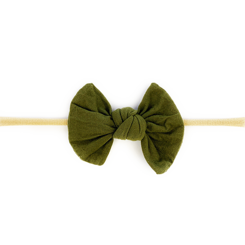 Baby Wisp Knotted Bow on Skinny Nylon Headband  - Moss