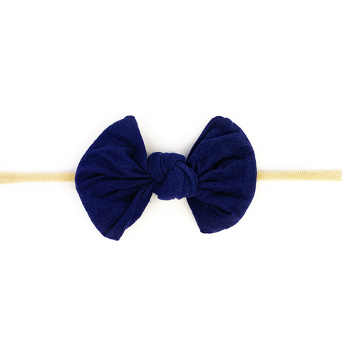 Baby Wisp Knotted Bow on Skinny Nylon Headband  - Navy