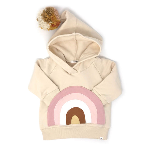 Oh Baby! Hooded Pocket Sweatshirt - Natural Blush Rainbow