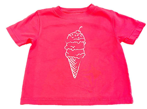 Mustard & Ketchup Kids Short Sleeve Tee - Pink Ice Cream Cone
