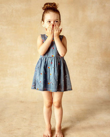 Blu & Blue Rainbow Heart Denim Dress