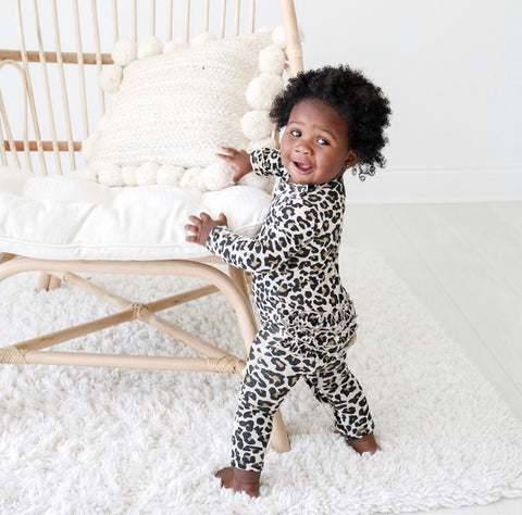 Posh Peanut Long Sleeve Ruffled Romper - Lana Leopard - Let Them Be Little, A Baby & Children's Boutique