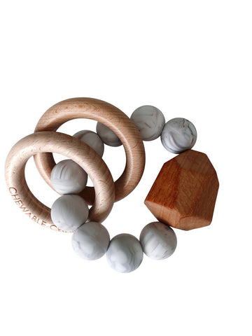 Chewable Charm Silicone + Wood Teether Toy - Howlite