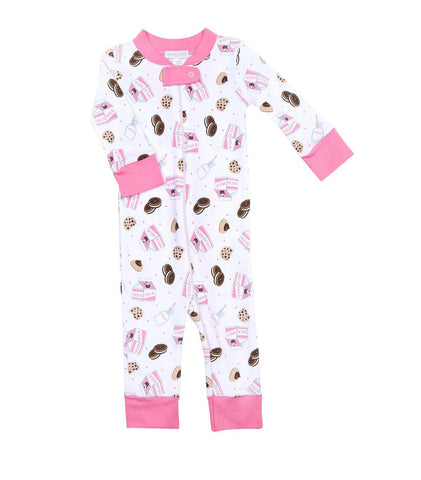 Magnolia Baby Zipped PJ Romper - Cookies & Milk Pink - Let Them Be Little, A Baby & Children's Boutique