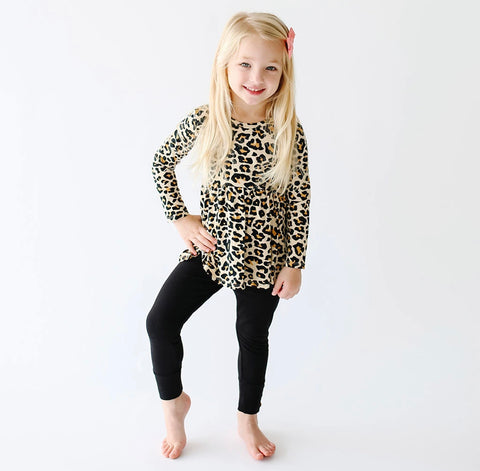 Posh Peanut Long Sleeve Peplum Leggings Set - Lana Leopard