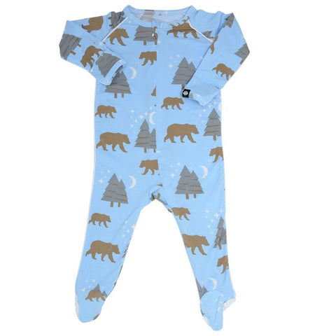 Sweet Bamboo Piped Footie - Bears Blue