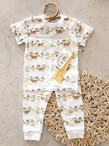 Velvet Fawn Two Piece Jammies - Lil Lagniappe Krewe Print - Let Them Be Little, A Baby & Children's Boutique