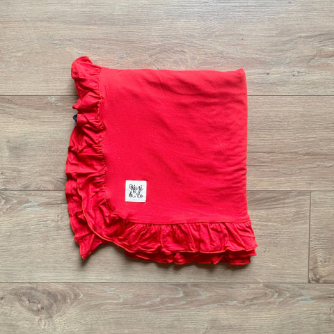 Kozi & Co Double Layer Blanket w/ Ruffles - Solid Holiday Red