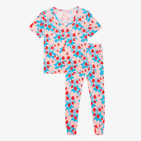 Posh Peanut Women's Short Sleeve Loungewear - Strawberry - Let Them Be Little, A Baby & Children's Clothing Boutique