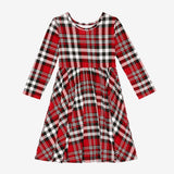 Posh Peanut Long Sleeve Twirl Dress - Noah Plaid