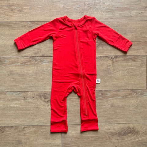 Kozi & Co Zipper Coverall - Solid Holiday Red