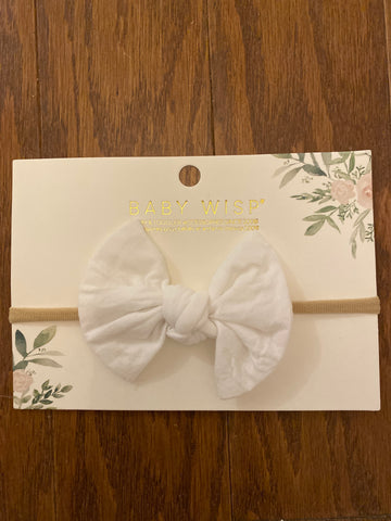 Baby Wisp Knotted Bow on Skinny Nylon Headband  - White