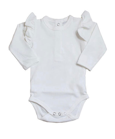 Cotton Bloom Ruffle Bodysuit Long Sleeve - Champagne - Let Them Be Little, A Baby & Children's Boutique