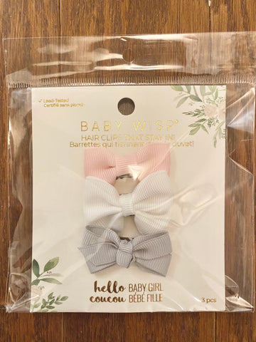 Baby Wisp Mini Latch Clips set of 3 - Pink, White, Grey - Let Them Be Little, A Baby & Children's Boutique