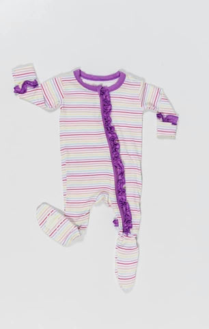 Macaron + Me Ruffle Footsie - Candy Stripe - Let Them Be Little, A Baby & Children's Boutique